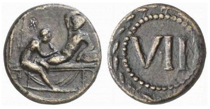 Недавно наткнулась на подборку римских монет (спинтрии) с