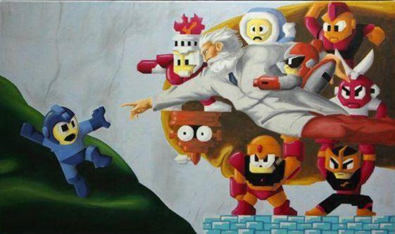 Mega Man Autors: 1930 Video spēļu varoņi klasiskajā gleznojuma stilā.