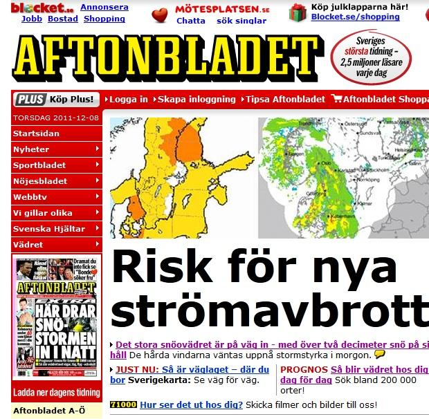 Arī Zviedrijas avīzes raksta... Autors: ghost07 Latvijai tuvojas sniegavētra