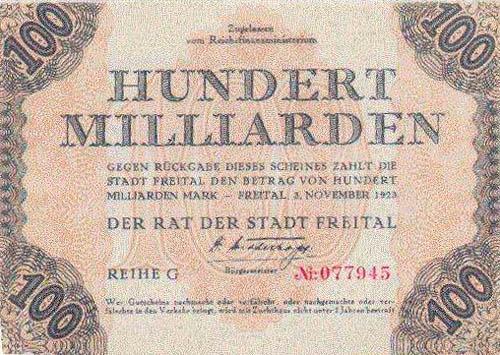 100 miljardi markas Autors: Fallenbeast Vislielākās banknotes pasaules vēsturē