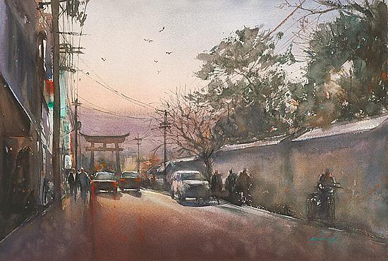 Autors: Sarkanvīns Japānas akvareļmāksliniece - Keiko Tanabe.