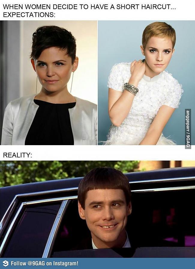 Sieviete nogriežot īsus matus Autors: ImDevazu Iedomas vs Realitāte 6.