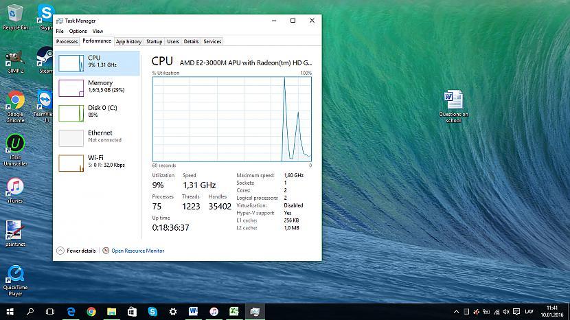 Pievilcīgāks CPU lietojums Autors: Fosilija Lietas, kas man patīk Windows 10