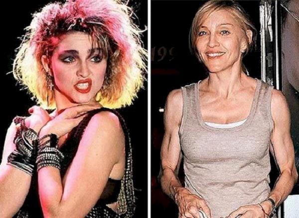Madonna Autors: matilde Slavenības arī noveco! 15 kadri no sērijas «Tad un Tagad»