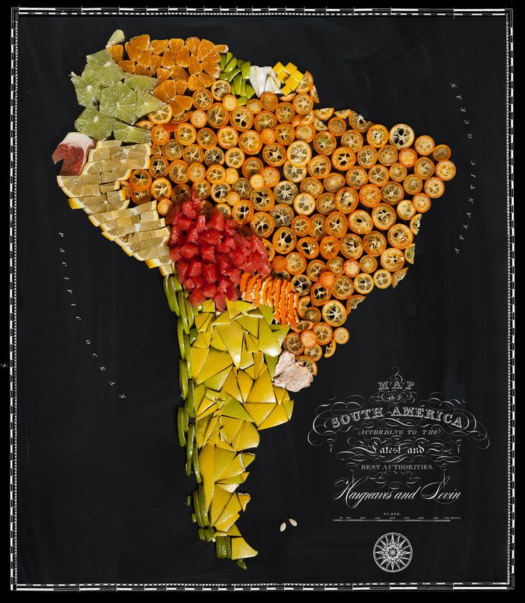 Dienvidamerika  Citrus augļi Autors: Sarius Viņi pārvērta ikoniskus ēdienus valstu un kontinentu kartēs.