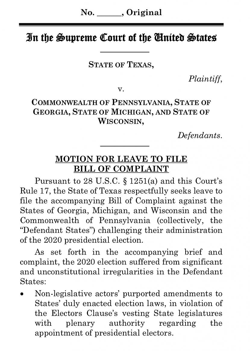 Autors: spoks0 State of Texas vs. Pennsylvania, Georgia, Michigan and Wisconsin