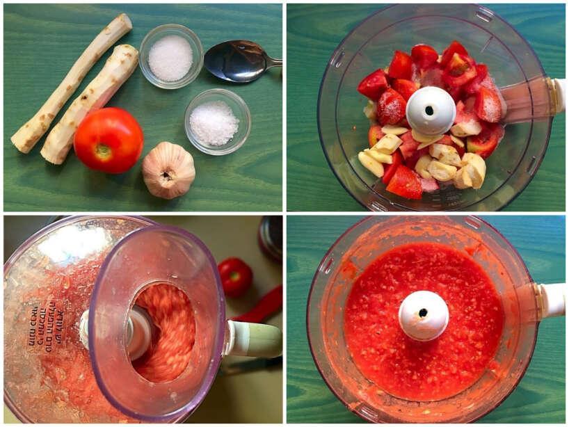 """Sastāvdaļas1 kg tomātu100 g... Autors: Zibenzellis69 Mājās gatavota mērcīte """"Hrenovina"""" 15 minūtēs!"""