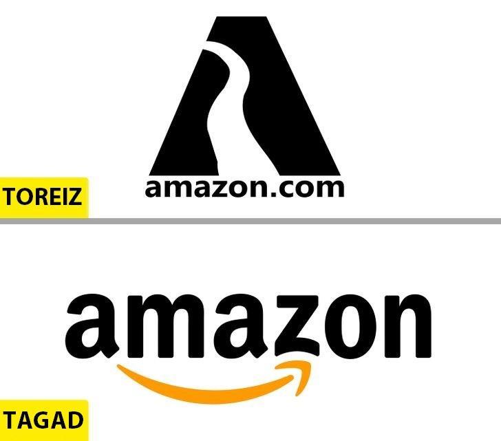 AmazonScaronīs kompānijas logo... Autors: Lestets Kā pēdējo 50 gadu laikā ir mainījušies slavenu brendu logo?